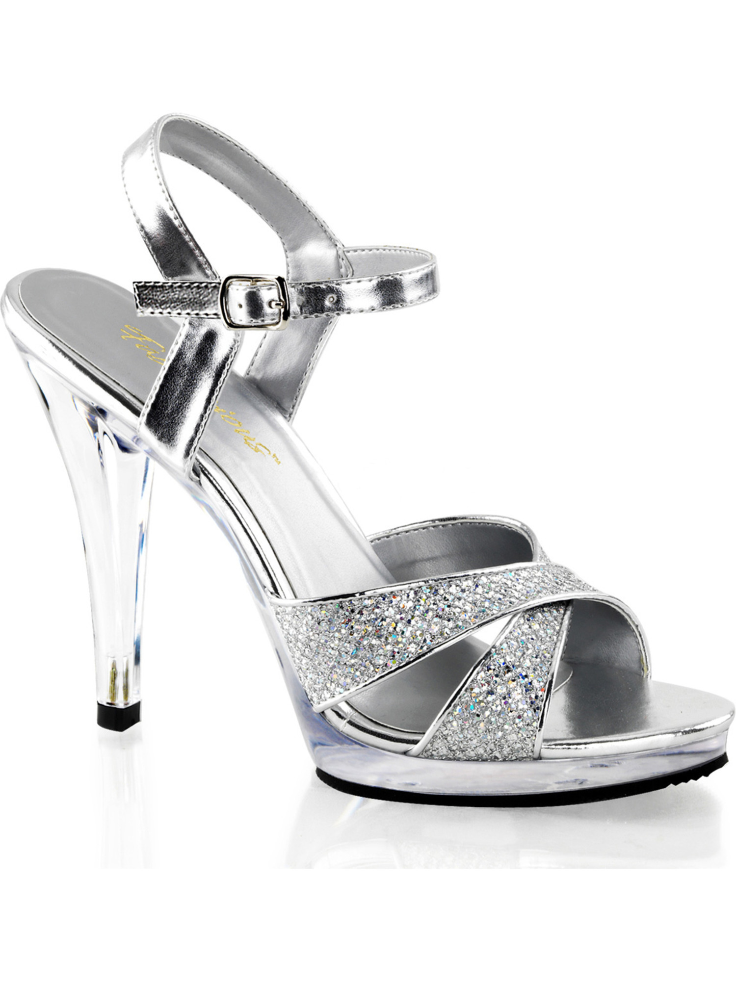 Womens Glam Silver Glitter Sandals with