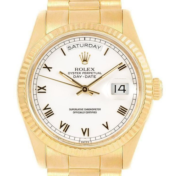 Pre-Owned Rolex Day-Date 18238 36mm Yellow Gold White Roman Automatic 1 Year Warranty