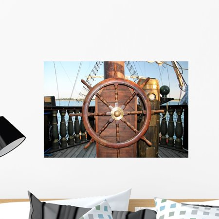 Old Ship Steering Rudder Wall Mural by Wallmonkeys Peel and Stick Grap