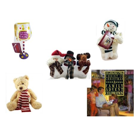 """Christmas Fun Gift Bundle [5 Piece] - I Just Rescued Some Wine"""" Wine Glass Ornament - Woodniks """"Finish It"""" Snowman Resin Figure 8"""" - Set of 3 Containers With   Character Lids - Soft & Cuddly Aeropos"""