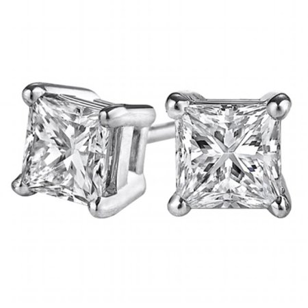 Fine Jewelry Vault UBERP025APRW14D Princess Cut Natural Diamond Stud Earrings in 14K Gold, 2 Stones