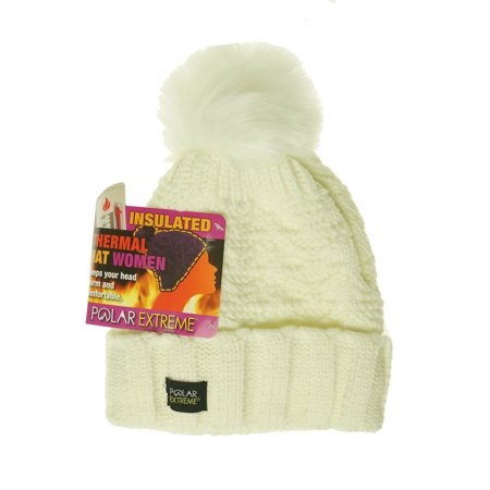 Polar Extreme Women's Thermal Fleece Lined Insulated Pom Pom Cuffed Beanie Ivory
