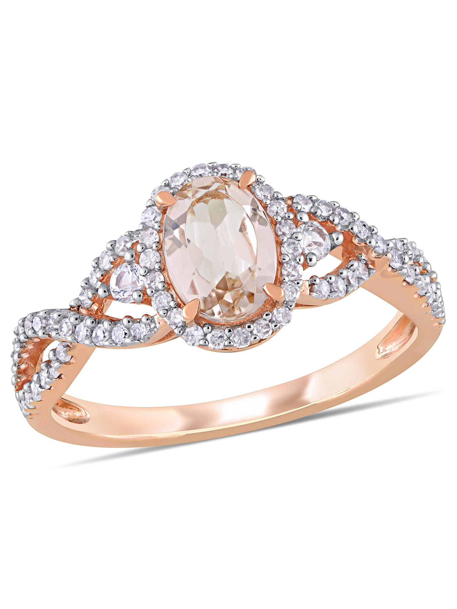 Tangelo 3/4 Carat T.G.W. Morganite and White Sapphire and 1/3 Carat T.W. Diamond 10k Rose Gold Engagement Ring
