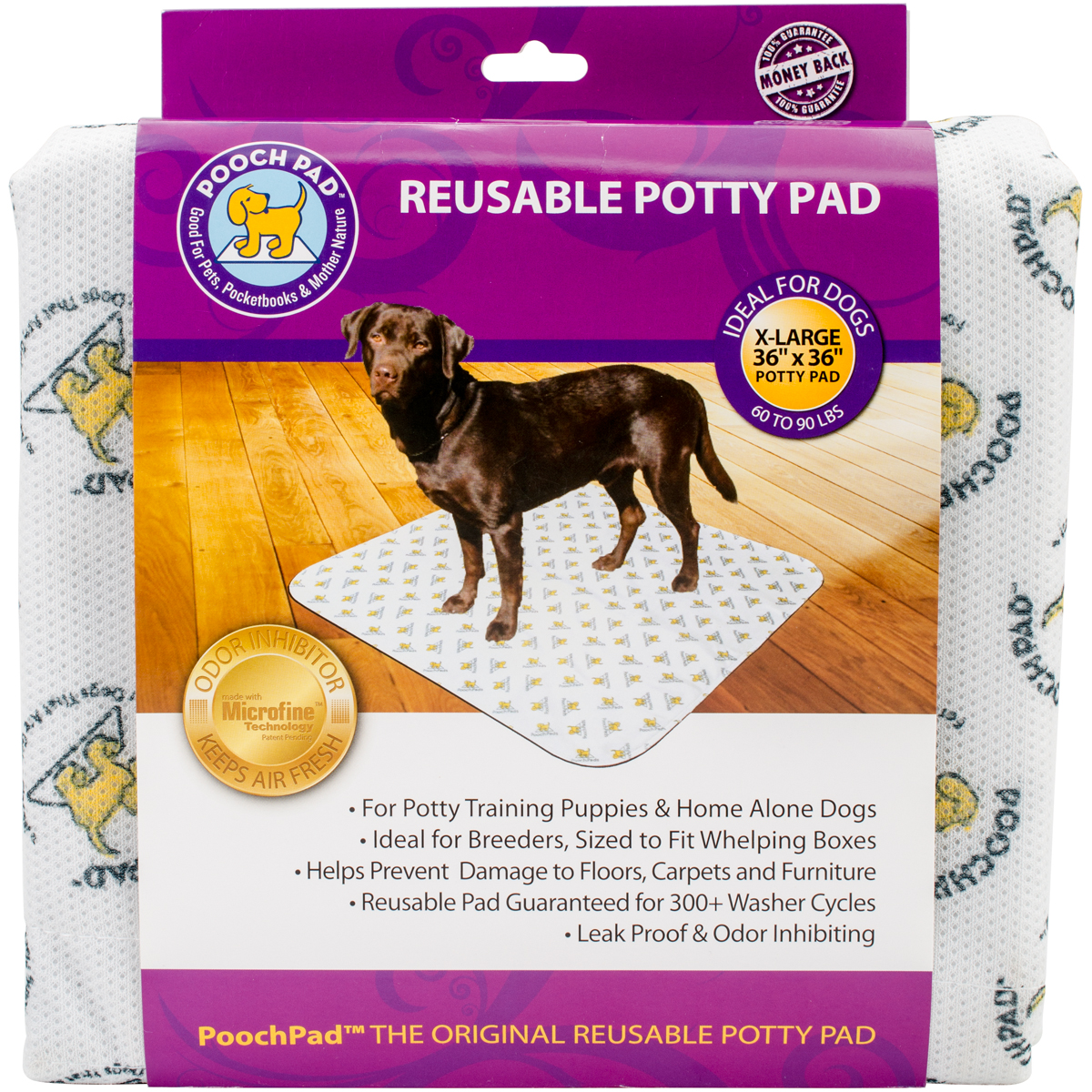 """Reusable Absorbent Potty Pad, X-Large, 36"""" x 36"""", White"""