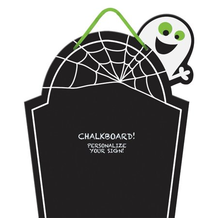 Chalkboard Tombstone Sign - Cutout Wood with Ribbon for Hanging, 15 X 12-1/2 Inches, Our chalkboard tombstone is an easy place to list a party menu or leave.., By Grasslands Road,USA - Tombstones For Sale