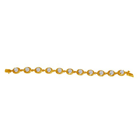 11.00 Carat Oval CZ Bracelet in 18K Yellow Gold Vermeil - image 2 of 2