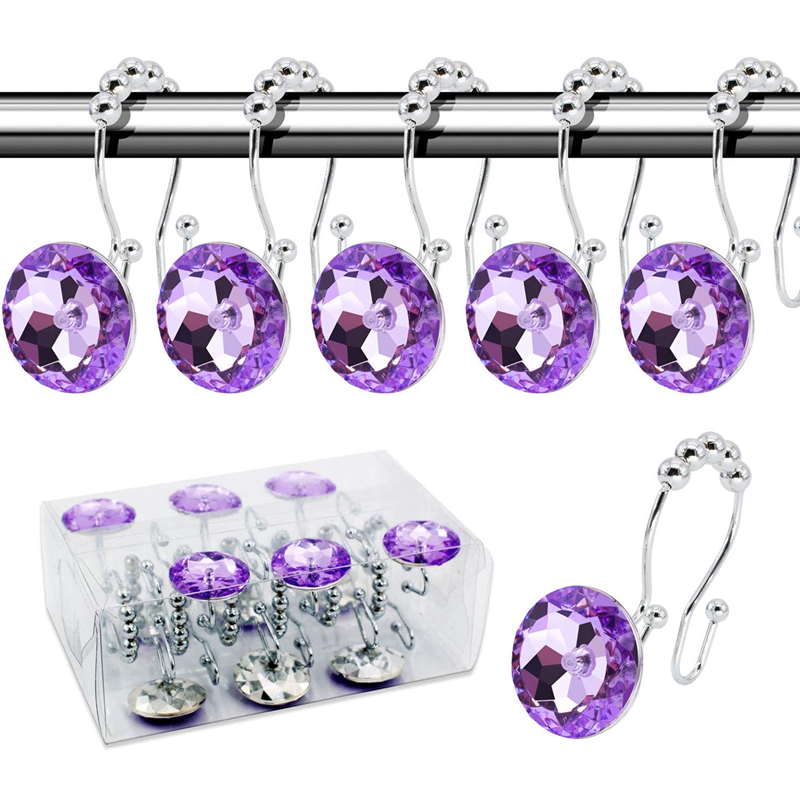 Shower Curtain Hooks Double Glide Rings Stainless Steel Set Of 12  rust proof