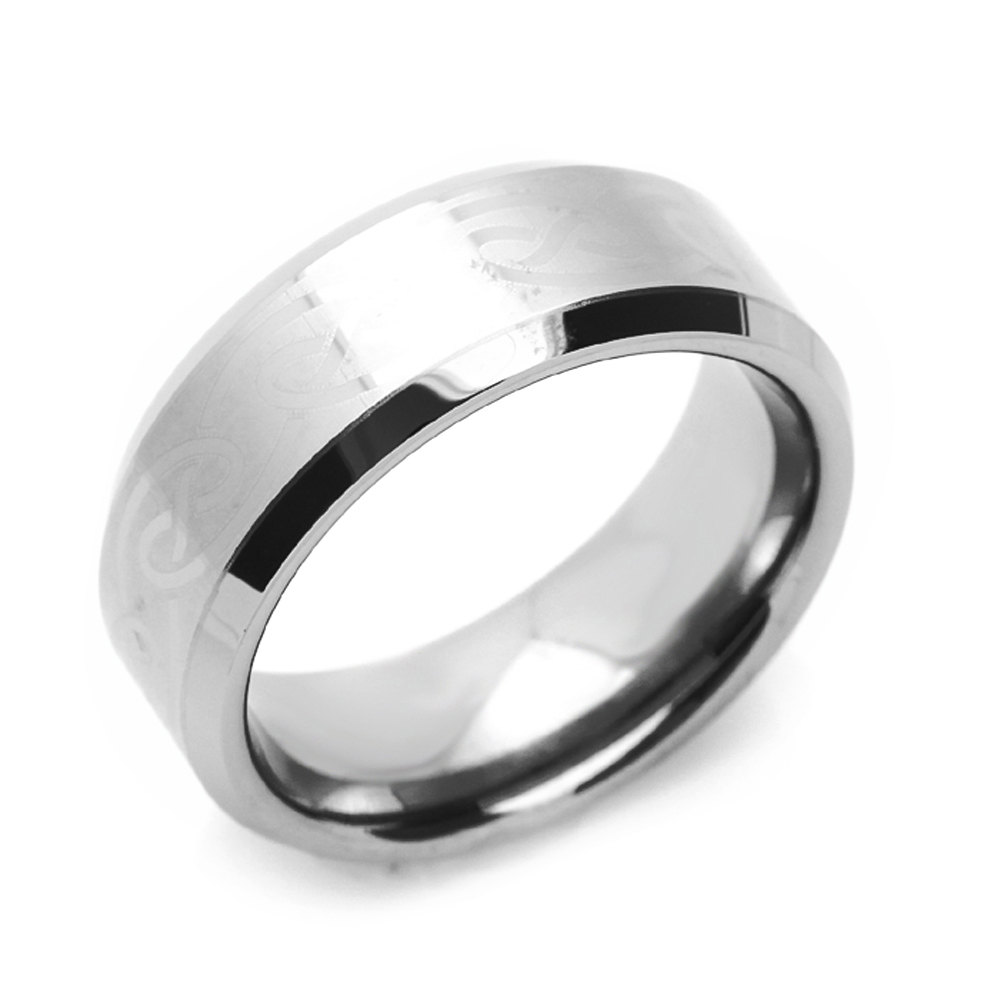 Custom Engraving 8mm Titanium Comfort Fit Wedding Band Promise Ring Beveled Edges Two Tone Ring
