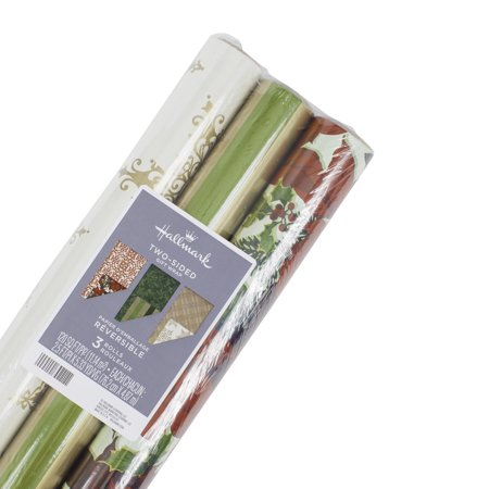 Hallmark Reversible Christmas Wrapping Paper Bundle, Classic (Pack of 3, 120 sq. ft. ttl.) - Christmas Wrapping Paper Clearance