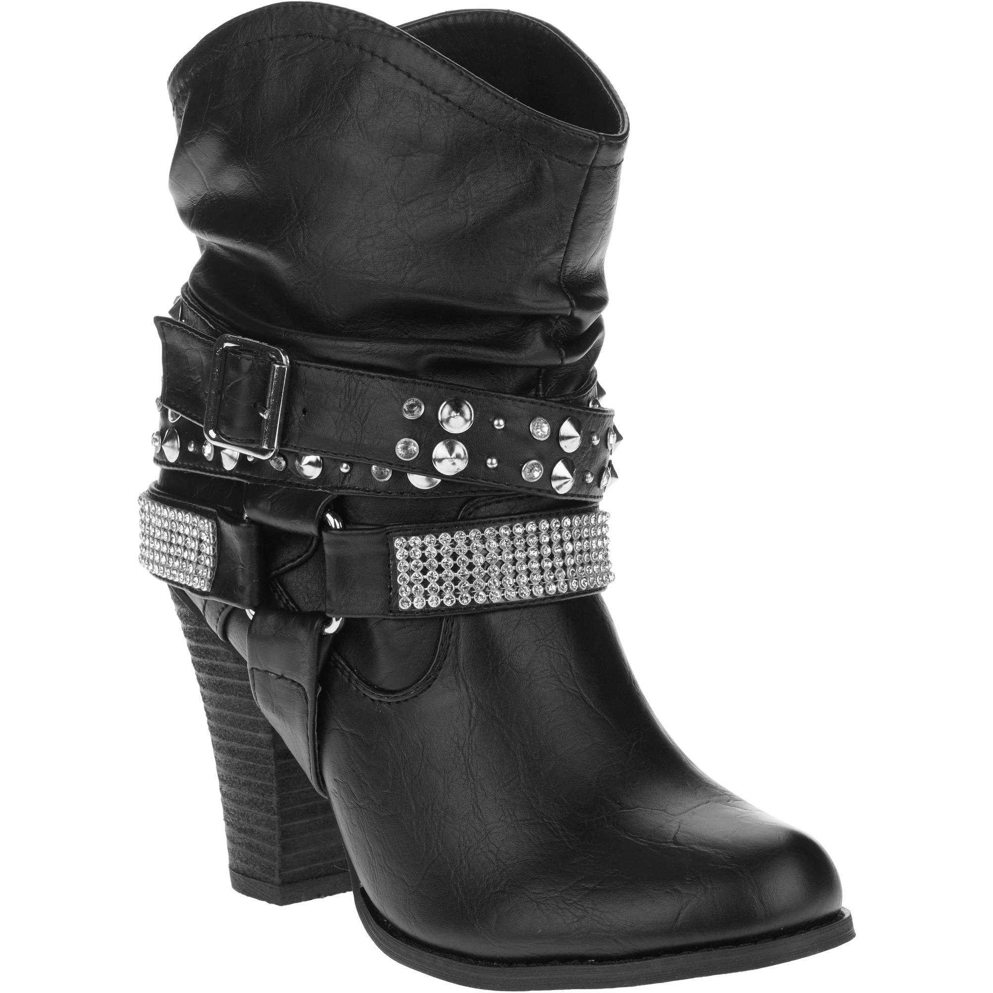 MOMO Women's High Heeled Bootie with Rhinestones and Studded Ankle Belt