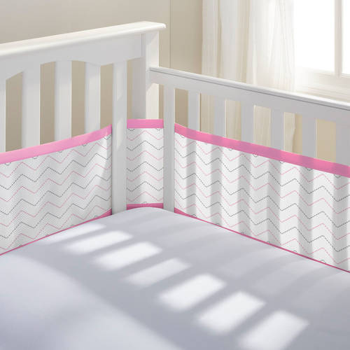 BreathableBaby® Classic Breathable® Mesh Crib Liner- Grey Chevron