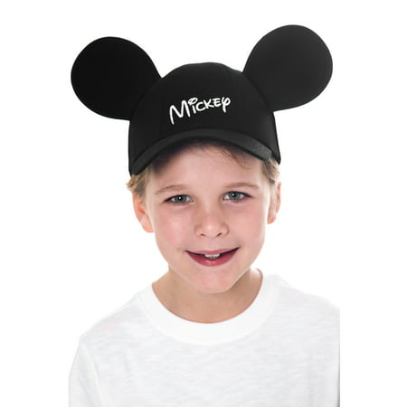 Mickey Mouse Kids Black Baseball Hat with Ears - Frozen Mickey Ears