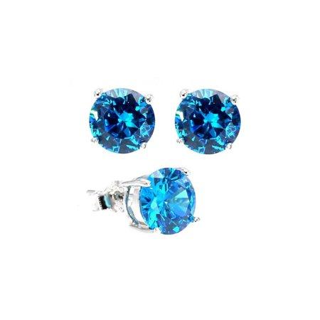 Sterling Silver 3 Carat Round Blue Cz Stud Earrings Blue Sterling Silver Earrings