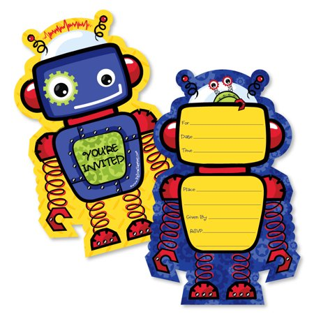 robots shaped fill in invitations baby shower or birthday party
