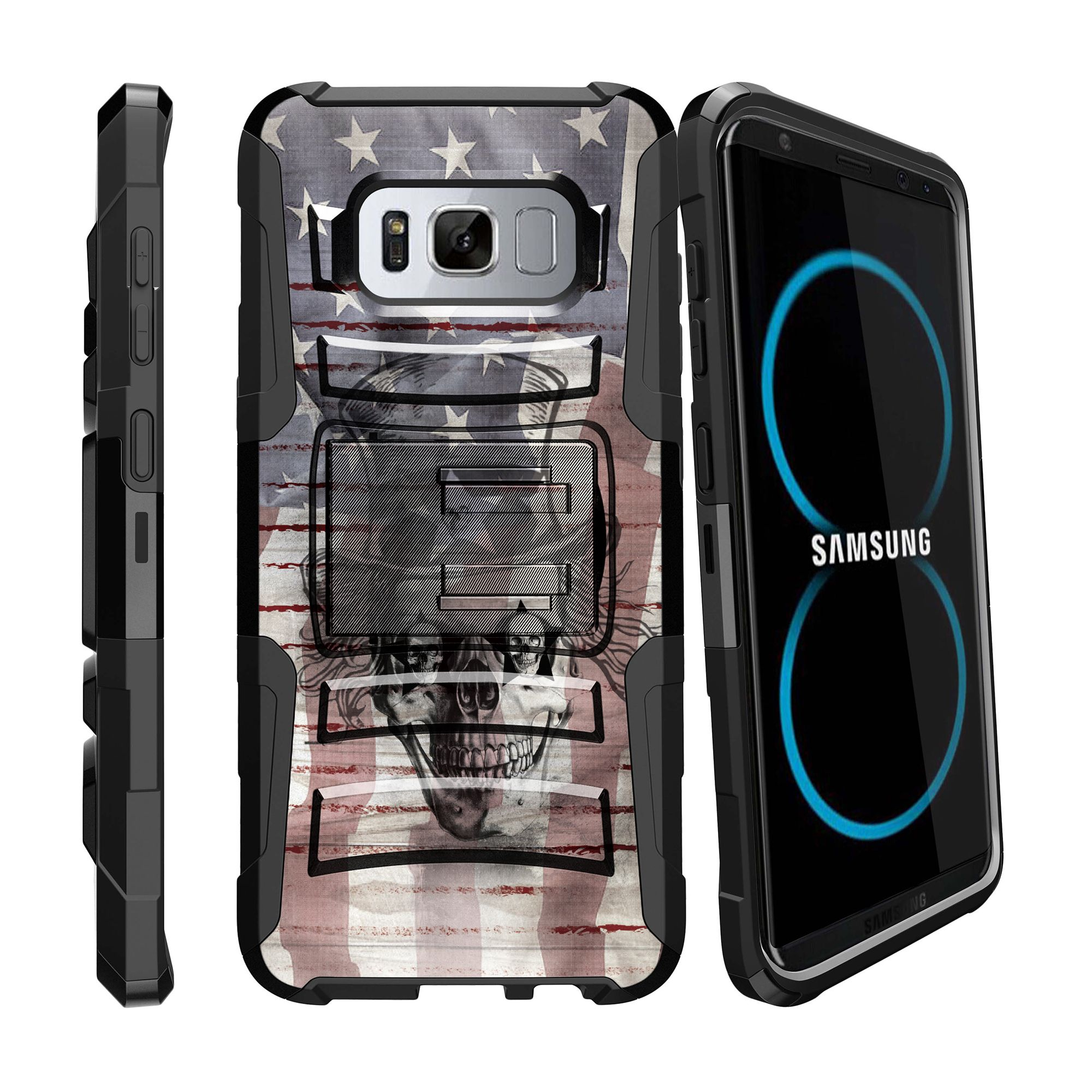 Case for Samsung Galaxy S8 | S8 Holster Case  [ Clip Armor ] Heavy Duty Case with Belt Clip & Kickstand Skull Collection