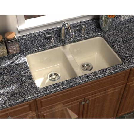 SONG S-8430-4U-61 Undercounter Kitchen Sink in Biscuit with 4 Faucet Holes