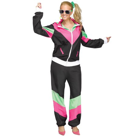 80s Female Track Suit Adult Costume - 80s Halloween Costumes Diy