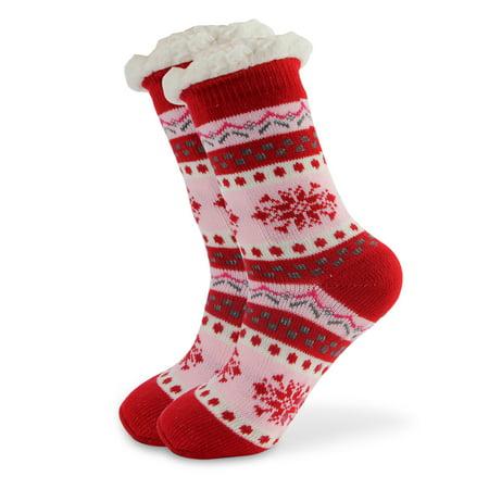 Thick Winter Slipper Socks Snowflake Fleece Lining Knit Christmas Knee Highs Stockings (Knit Liner)