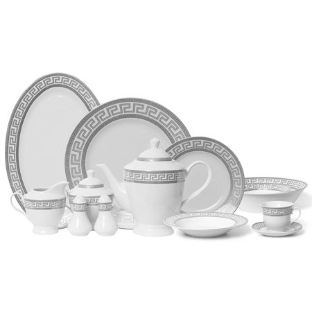 "Royalty Porcelain Vintage Platinum 6 Pc Place Setting""Greek Key Silver"", Premium Bone China by Royalty Porcelain"