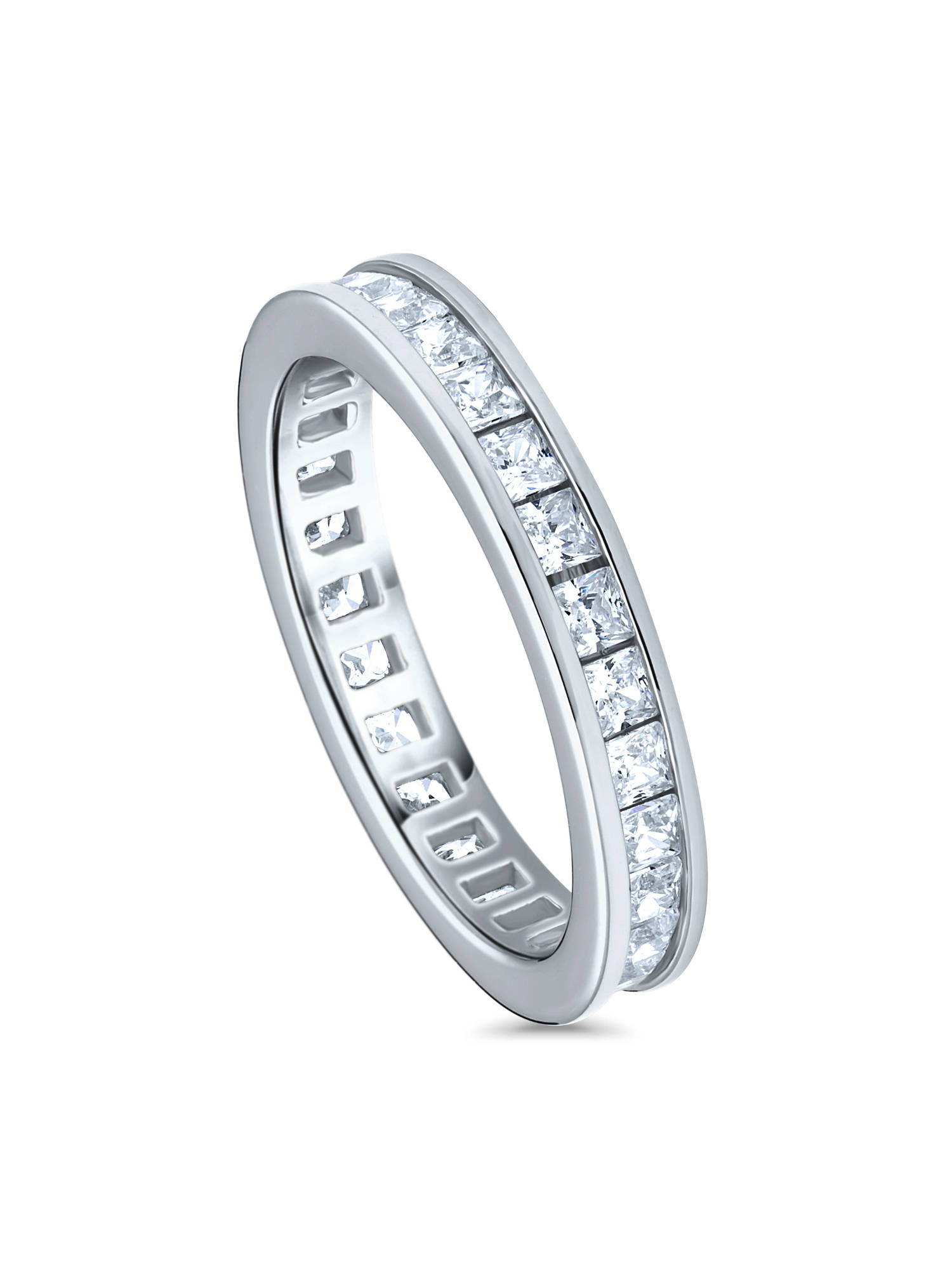 fa722164f07 BERRICLE Rhodium Plated Sterling Silver Channel Set Cubic Zirconia CZ  Eternity Band Ring Size 8.5