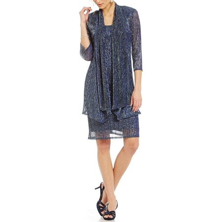 Metallic Knit Dress - R&M Richards Sleeveless Cascade Front Metallic Knit Dress and Jacket