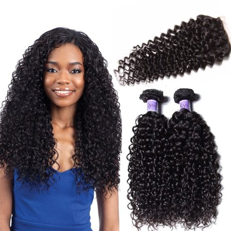 UNice Hair Kysiss Peruvian Kinky Curly Hair Weave 4 Bundles With Closure 100% Human Hair Weave Free Part Lace Closure,
