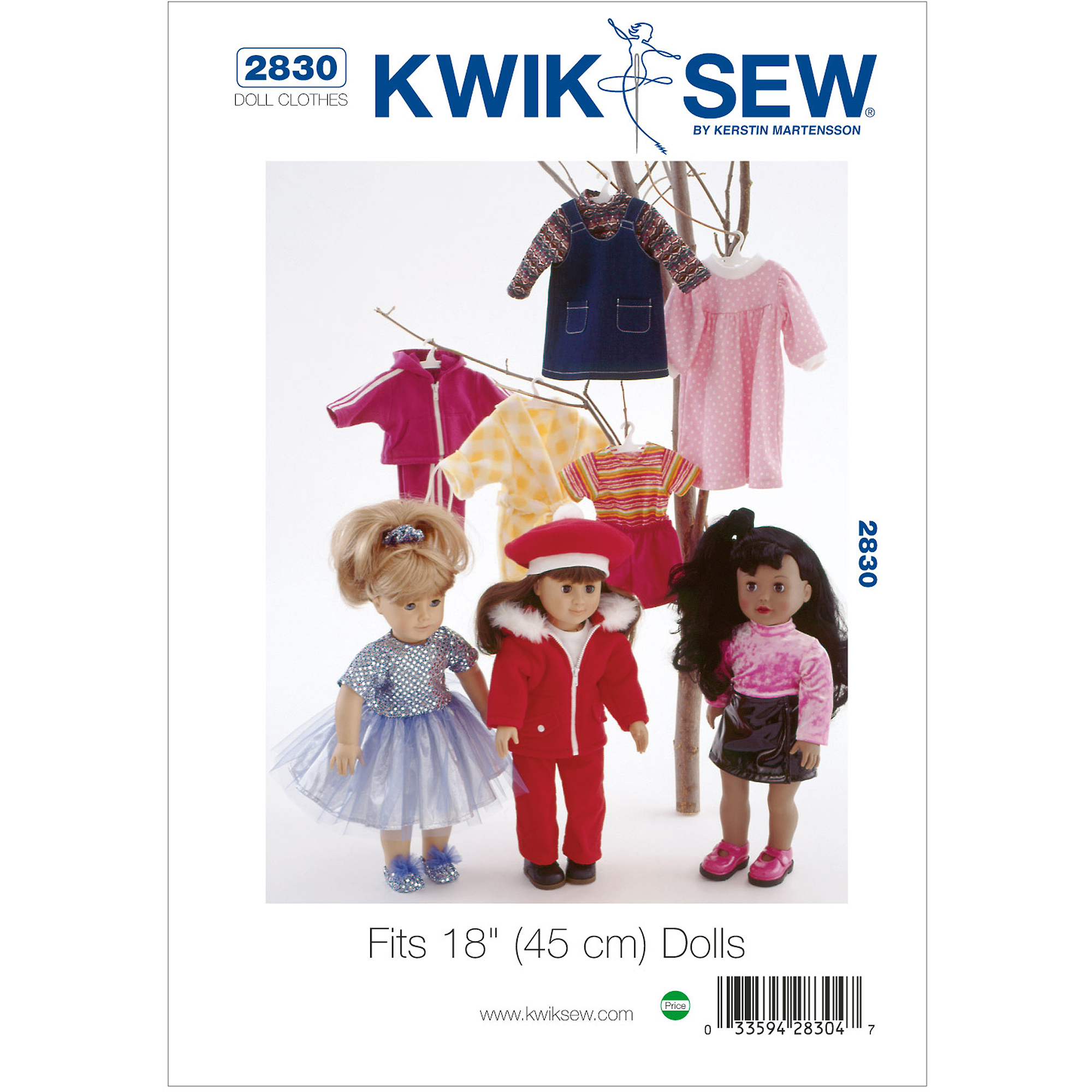 "Kwik Sew Pattern Doll Clothing, Fits 18"" (45cm) Dolls"