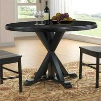 Carolina Classics Eila X Base Dining Table in Antique Black