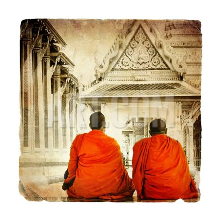 Two Monks In Thai Temple - Artistic Toned Picture In Retro Style Print Wall Art By (Best Temples In Thailand)