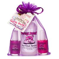 Piggy Paint 100% Non-toxic Girls Nail Polish - Safe, Chemical Free Low Odor for Kids, Girls Rule (Purple, Pink, Remover)