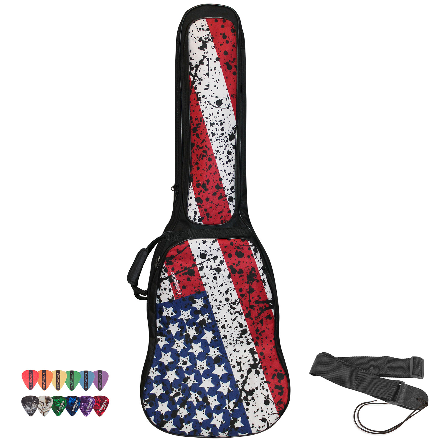 ChromaCast USA Flag Graphic Multi-Pocket Padded Electric Guitar Gig Bag with Pick Sampler & Guitar Strap
