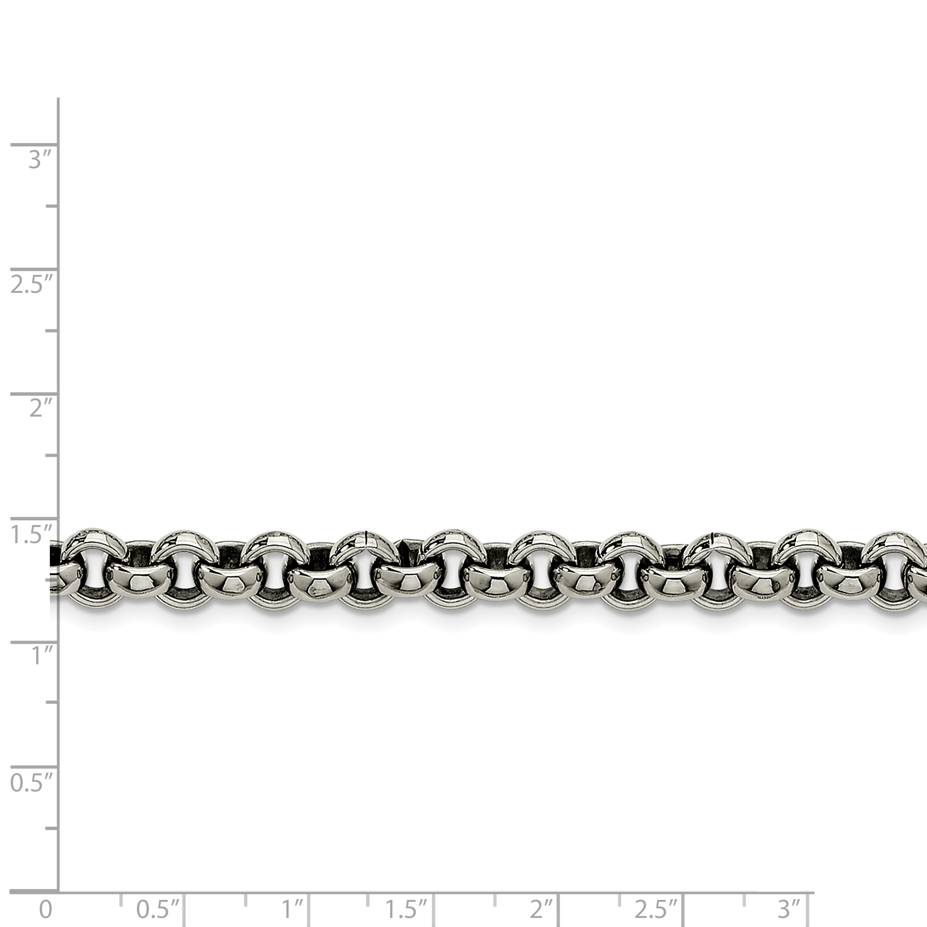 Stainless Steel 8mm Rolo Bracelet Chain 7.75 Inch Fashion Jewelry Gifts For Women For Her - image 2 of 3