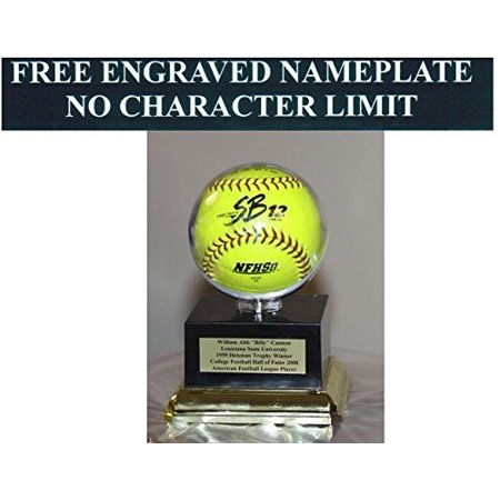 """Softball Personalized Acrylic Display Case with Round Holder for 11"""" Ball. Black Platform Base - Free No Limit Engraving"""