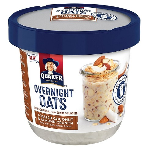 (6 Pack) Quaker Overnight Oats Toasted Coconut & Almond Crunch, 2.43 OZ