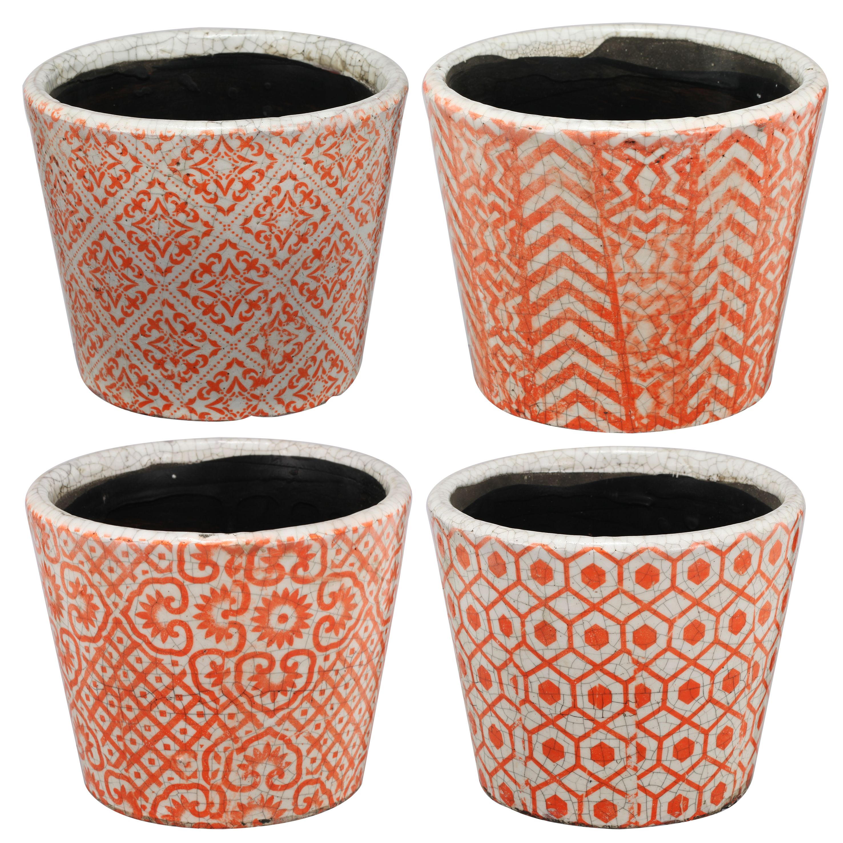 A&B Home Bailey Round Pot Planters, Orange, Small, Set of 4 by A&B Home