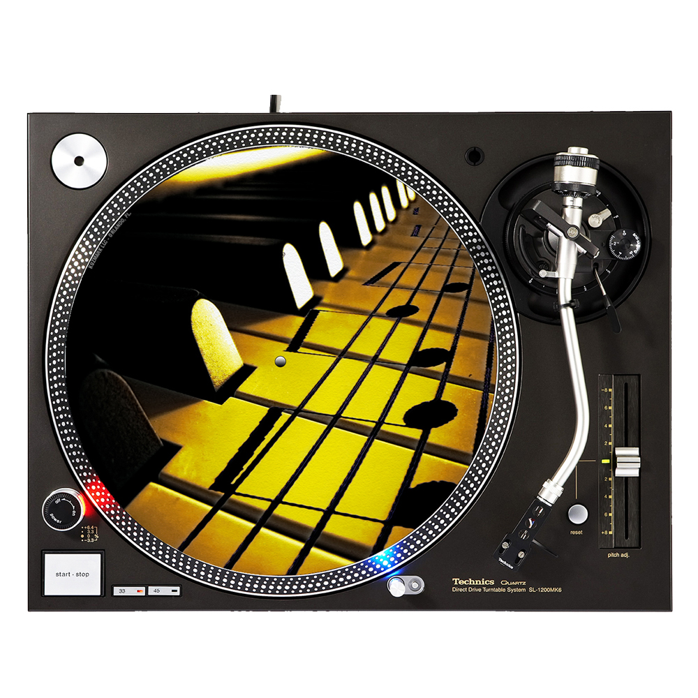 "KuzmarK™ 12"" DJ Turntable Slipmat - Sheet Music On Piano Keys"