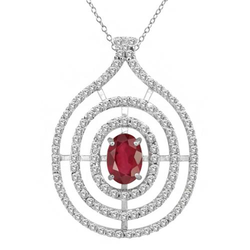2.17 Ct Oval Natural African Red Ruby 925 Sterling Silver Pendant
