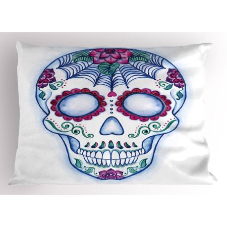 Sugar Skull Pillow Sham Day of The Dead Colorful Skull with Floral Ornament Hand Drawn Style Doodle, Decorative Standard Size Printed Pillowcase, 26 X 20 Inches, Multicolor, by Ambesonne (Colorful Sugar Skull)
