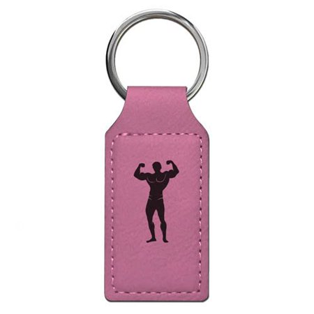 Keychain - Bodybuilder - Personalized Engraving Included (Pink Rectangle)