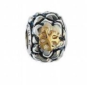 Marketplace 161017 Gold Snowflake on Silver Bead in Sterling Silver & 14K Yellow Gold Moress XGS-13