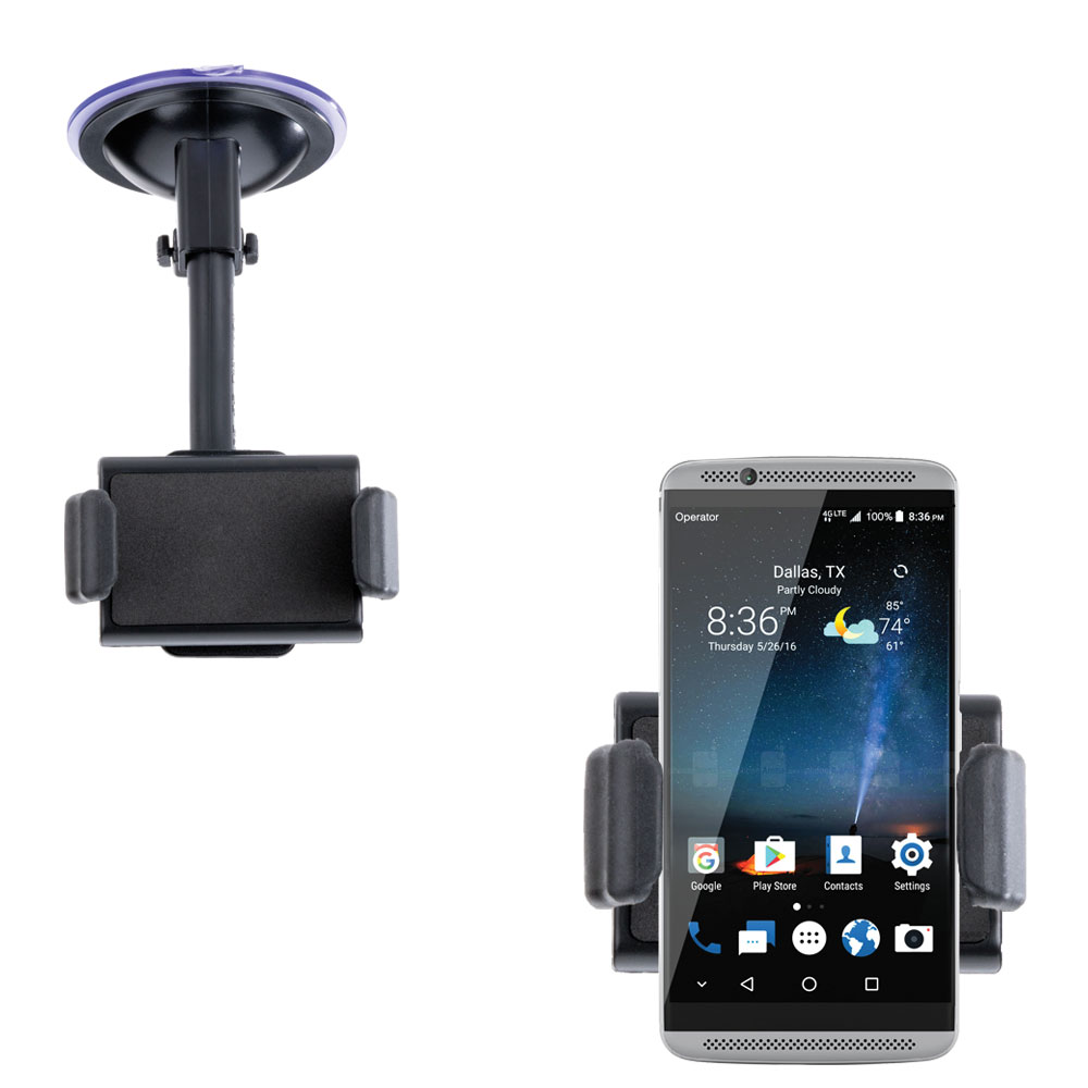 Gomadic Brand Ultra Compact Flexible Car Auto Windshield Holder Mount designed for the ZTE Axon 7 Mini - Gooseneck Suction Cup Style Cradle