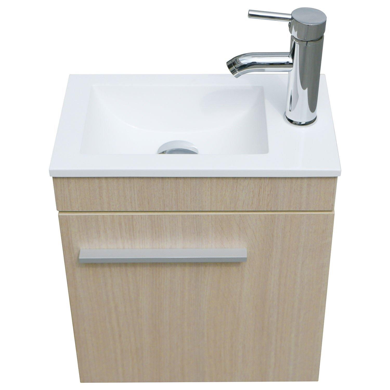 New MTN-G Single Vessel Sink with Faucet Wall Mount Wood Cabinet Bathroom Vanity Basin Set