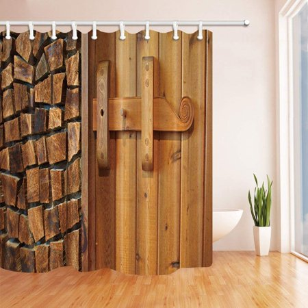 Wopop Rustic New Wooden Barn Door Of Farmhouse Polyester Fabric Bath