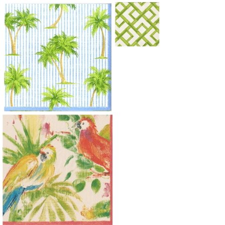 Caspari Palms Tropical and Royal Horticultural Society Paper Luncheon Napkins 3 x Pack of 20