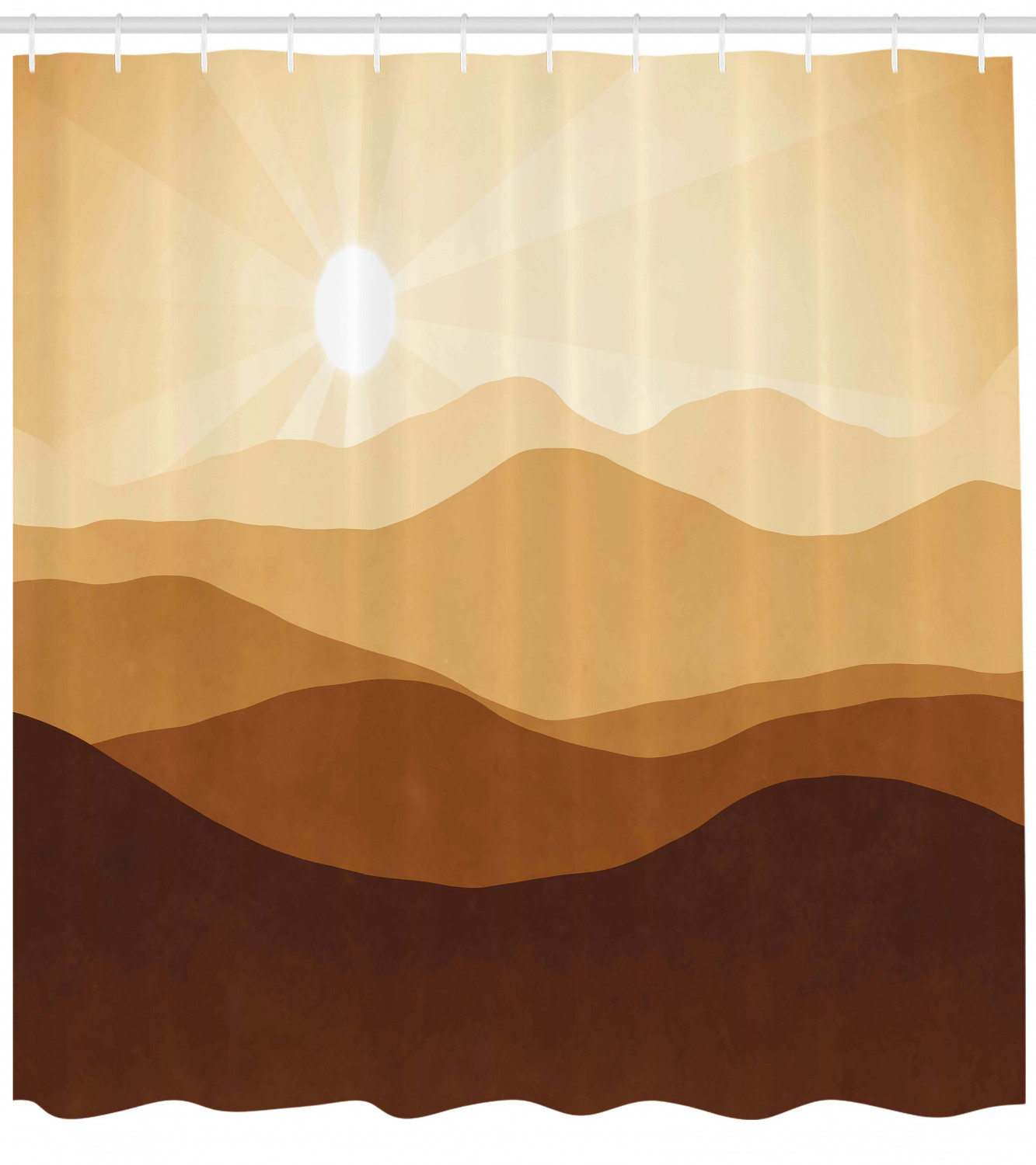 Tan Shower Curtain Sunrise Over The Mountains Conceptual Landscape Hills Rays Scenery Fabric Bathroom Set With Hooks Brown Pale Brown Sand Brown