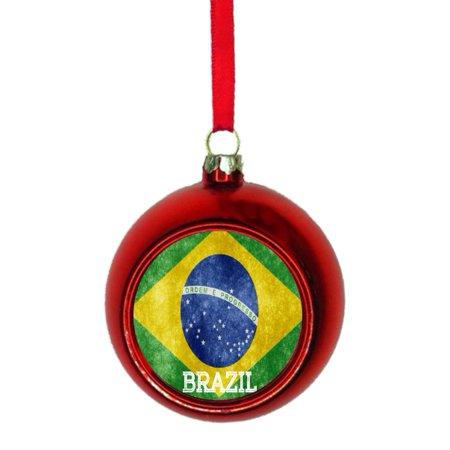 Flag Brazil - Brazilian Grunge Flag Bauble Christmas Ornaments Red Bauble Tree Xmas Balls - Walmart.com