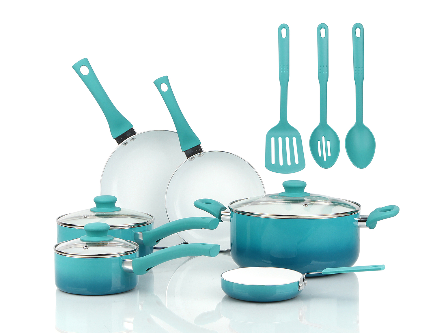 Nonstick Cookware Set 12 Piece Kitchen Ceramic Pots and Pans with Lids Cooking