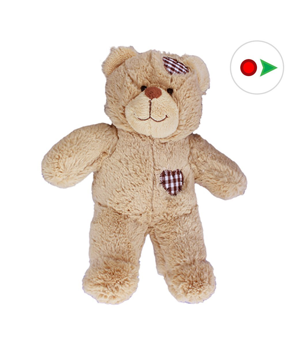 Record Your Own Plush 8 inch Brown Patches Teddy Bear Ready 2 Love in a Few Easy Steps by Teddy Mountain