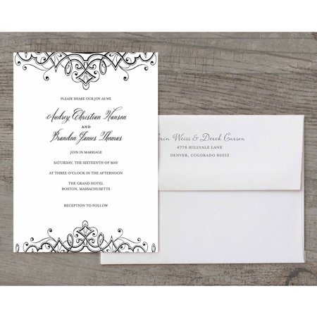 Ornate Flourish Deluxe Wedding Invitation