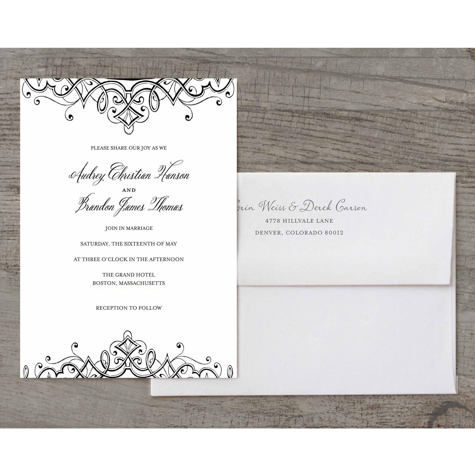 Ornate Flourish Deluxe Wedding Invitation